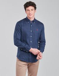 textil Hombre Camisas manga larga Polo Ralph Lauren CHEMISE AJUSTEE EN LIN COL BOUTONNE  LOGO PONY PLAYER Azul