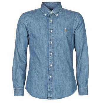textil Hombre Camisas manga larga Polo Ralph Lauren CHEMISE CINTREE SLIM FIT EN JEAN DENIM BOUTONNE LOGO PONY PLAYER Azul
