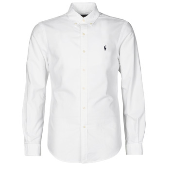 textil Hombre Camisas manga larga Polo Ralph Lauren CHEMISE CINTREE SLIM FIT EN OXFORD LEGER TYPE CHINO COL BOUTONNE Blanco