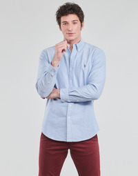 textil Hombre Camisas manga larga Polo Ralph Lauren CHEMISE AJUSTEE EN OXFORD COL BOUTONNE  LOGO PONY PLAYER MULTICO Azul