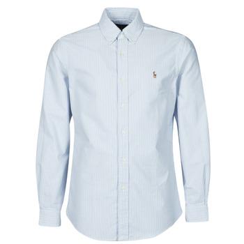textil Hombre Camisas manga larga Polo Ralph Lauren CHEMISE AJUSTEE EN OXFORD COL BOUTONNE  LOGO PONY PLAYER MULTICO Azul / Blanco