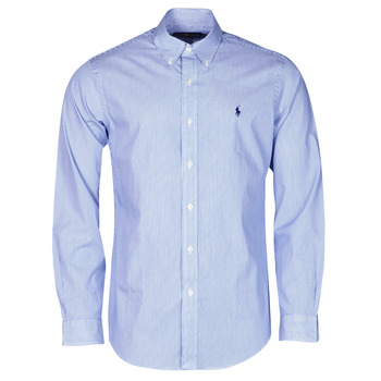 textil Hombre Camisas manga larga Polo Ralph Lauren CHEMISE AJUSTEE EN POPLINE DE COTON COL BOUTONNE  LOGO PONY PLAY Azul / Blanco