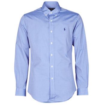 textil Hombre Camisas manga larga Polo Ralph Lauren CHEMISE AJUSTEE EN POPLINE DE COTON COL BOUTONNE  LOGO PONY PLAY Azul