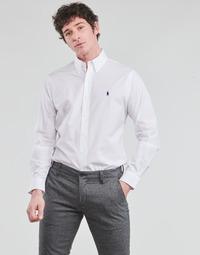 textil Hombre Camisas manga larga Polo Ralph Lauren CHEMISE AJUSTEE EN POPLINE DE COTON COL BOUTONNE  LOGO PONY PLAY Blanco