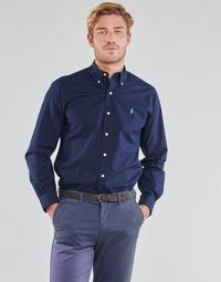 textil Hombre Camisas manga larga Polo Ralph Lauren CHEMISE AJUSTEE EN POPLINE DE COTON COL BOUTONNE  LOGO PONY PLAY Marino
