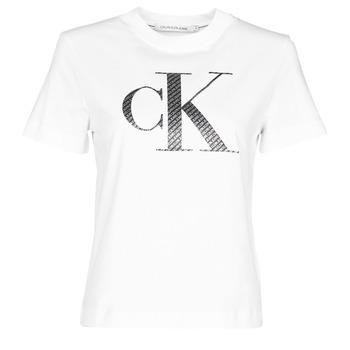 textil Mujer Camisetas manga corta Calvin Klein Jeans SATIN BONDED FILLED CK TEE Blanco