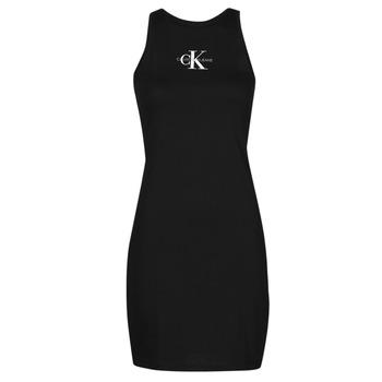textil Mujer Vestidos cortos Calvin Klein Jeans MONOGRAM TANK DRESS Negro
