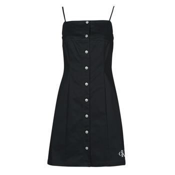 textil Mujer Vestidos cortos Calvin Klein Jeans COTTON TWILL BUTTON DRESS Negro