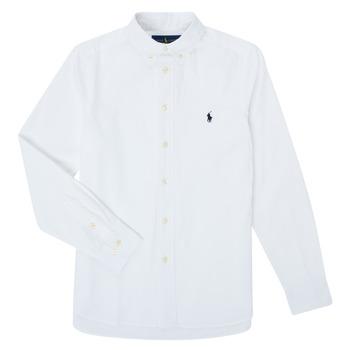 textil Niño Camisas manga larga Polo Ralph Lauren CAMIZA Blanco