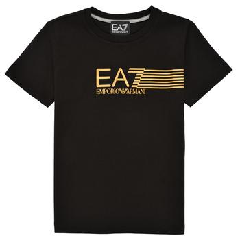 textil Niño Camisetas manga corta Emporio Armani EA7 3KBT54-BJ02Z-1200 Negro / Oro