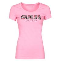 textil Mujer Camisetas manga corta Guess SS RN MARTINA TEE Rosa