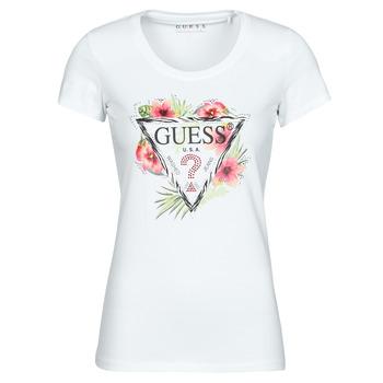 textil Mujer Camisetas manga corta Guess SS CN REBECCA TEE Blanco / Multicolor