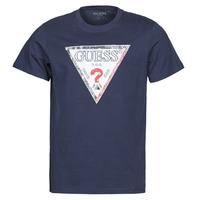 textil Hombre Camisetas manga corta Guess TRIESLEY CN SS TEE Marino