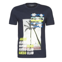 textil Hombre Camisetas manga corta Guess GUESS CLUB CN SS TEE Marino