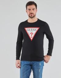textil Hombre Camisetas manga larga Guess CN LS ORIGINAL LOGO TEE Negro