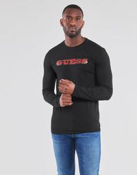 textil Hombre Camisetas manga larga Guess GUESS PROMO CN LS TEE Negro