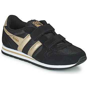 Zapatos Niña Zapatillas bajas Gola DAYTONA MIRROR VELCRO Negro / Oro