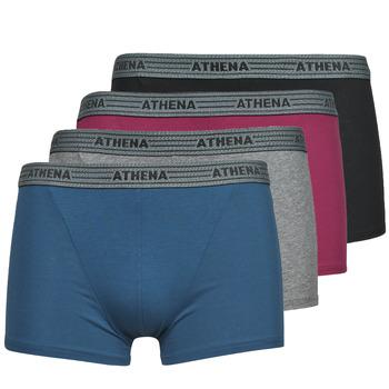 Ropa interior Hombre Boxer Athena BASIC COTON  X4 Gris / Burdeo / Azul / Negro