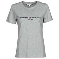 textil Mujer Camisetas manga corta Tommy Hilfiger TH ESS HILFIGER C-NK REG TEE SS Gris