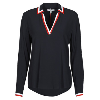 textil Mujer Tops / Blusas Tommy Hilfiger VISCOSE HER POPOVER BLOUSE LS Marino