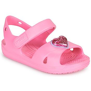 Zapatos Niña Sandalias Crocs CLASSICCROSSSTRAPCHARMSANDAL T Rosa