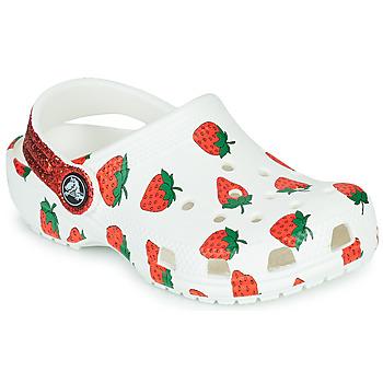 Zapatos Niña Zuecos (Clogs) Crocs CLASSIC FOOD PRINT CLOG K Blanco / Rosa