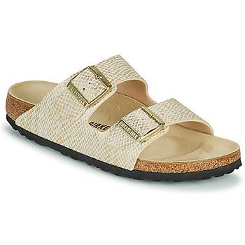 Zapatos Mujer Zuecos (Mules) Birkenstock ARIZONA Oro / Blanco