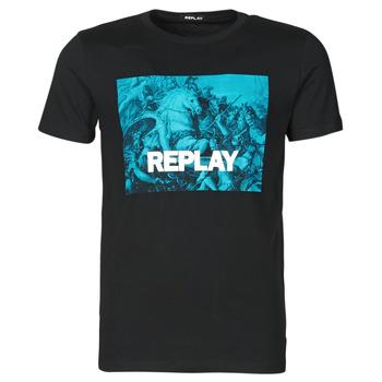 textil Hombre Camisetas manga corta Replay M3412-2660 Negro / Azul