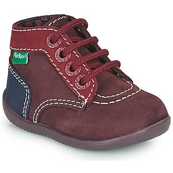 Zapatos Niña Botas de caña baja Kickers BONBON-2 Violeta / Rojo / Marino