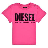 textil Niña Camisetas manga corta Diesel TJUSTLOGOB Rosa