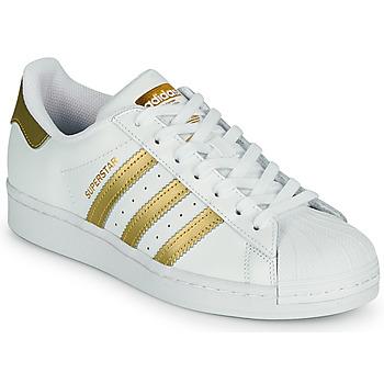 Zapatos Mujer Zapatillas bajas adidas Originals SUPERSTAR W Blanco / Oro