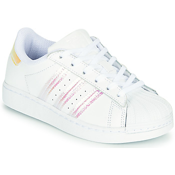 Zapatos Niña Zapatillas bajas adidas Originals SUPERSTAR J Blanco / Iridescent