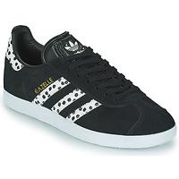 Zapatos Mujer Zapatillas bajas adidas Originals GAZELLE W Negro / Blanco