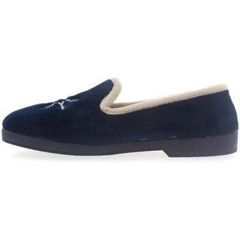 Zapatos Mujer Pantuflas Selquir Zapatillas de Casa 300 Marino Azul