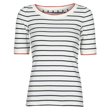 textil Mujer Camisetas manga corta Esprit RAYURES COL ROUGE Blanco