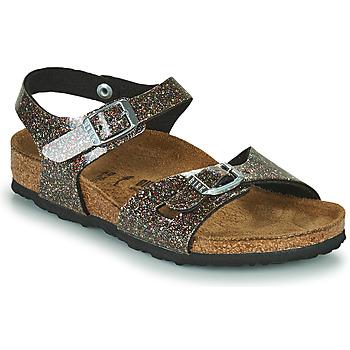 Zapatos Niña Sandalias Birkenstock RIO Negro / Oro
