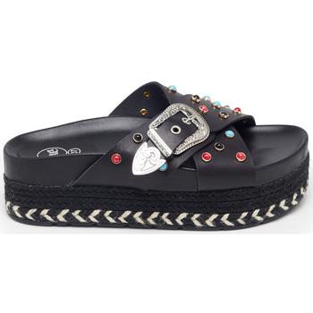 Zapatos Mujer Sandalias Exé Shoes SANDALIA PLATAFORMA ESPARTO TIRAS CRUZADAS BLACK 17060-E2-B Color Negro