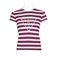 textil Mujer Camisetas manga corta Guess GERALDE TURTLE NECK Negro / Blanco