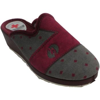 Zapatos Mujer Pantuflas Muñoz Y Tercero Zapatillas mujer abiertas detrás lunares burdeos