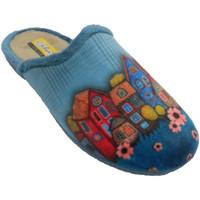 Zapatos Mujer Pantuflas Aguas Nuevas Chanclas mujer abiertas por detrás dibuj azul