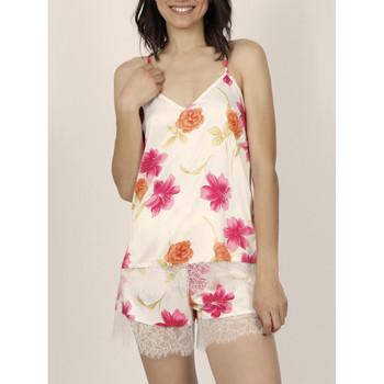 textil Mujer Pijama Admas Pantalones cortos de pijama camiseta tirantes Thai Flowerss Marfil