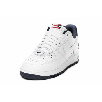 Zapatos Zapatillas bajas Nike Air Force 1 Low Puerto Rico True White/True White-Obsidian-Comet Red