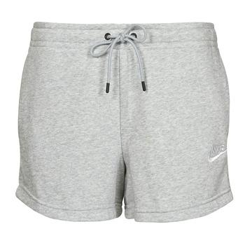 textil Mujer Shorts / Bermudas Nike NSESSNTL FLC HR SHORT FT Gris / Blanco