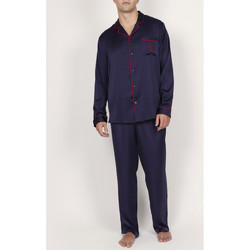 textil Hombre Pijama Admas For Men Pantalones de raso pijama camisa Classic Admas Azul Marine