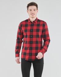 textil Hombre Camisas manga larga Jack & Jones JJEGINGHAM Rojo / Negro