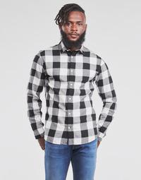 textil Hombre Camisas manga larga Jack & Jones JJEGINGHAM Blanco / Negro