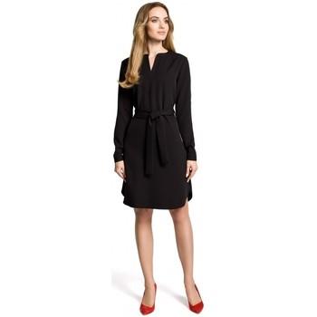 textil Mujer Vestidos cortos Moe M361 Vestido camisero con cinturón atado - negro