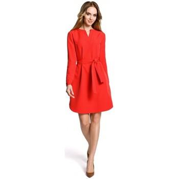textil Mujer Vestidos cortos Moe M361 Vestido camisero con cinturón atado - rojo