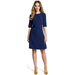 textil Mujer Vestidos cortos Moe M362 Vestido sencillo en línea con cinturón - azul marino