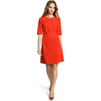 textil Mujer Vestidos cortos Moe M362 Vestido sencillo en línea con cinturón - rojo